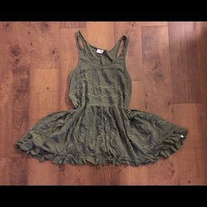 Free People Intimates Green Viole & Lace Dress/Top